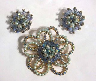 Elsa Schiaparelli Pin Brooch and Earrings Set 3 PC Demi Parure Signed