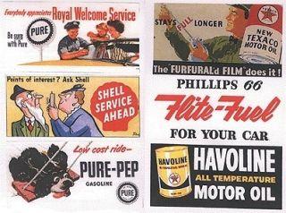 JL Inn Design HO 165 Vintage Gas Station Oil Billboard Paper Signs