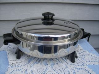 Saladmaster Stainless Steel Oil Core 11 Electric Skillet w Vapo Lid