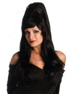 Long Black Beehive Wig Costume Halloween Elvira Witch Drag