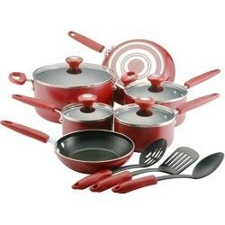 Farberware Silverstone Culinary Colors 13 Piece Cookware Set Red