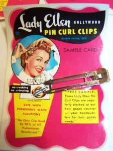 1950 Vintage Pin Curl Clips Sample Card Lady Ellen Elyse Knox, Actress