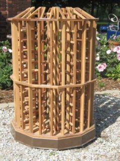 Round Red Wood Commercial Wine Bottle Display Rack Retail Sale Aisle