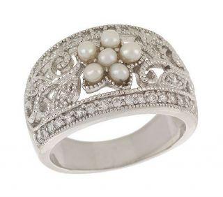 Esposito Diamonique Sterling Silver Pearl Flower Ring 6