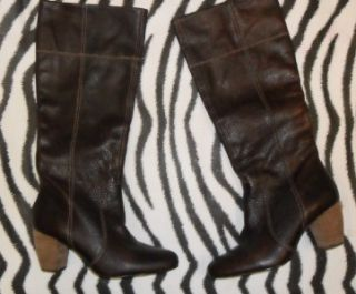 RRP £110 Ladies Womens Faith Brown Leather Mid/Knee High Boots