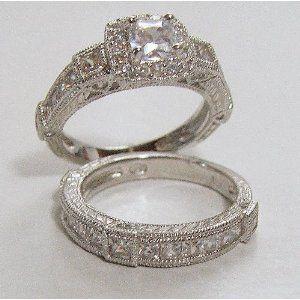 25ct Antique Estate Style Wedding Engagement Ring Set 7