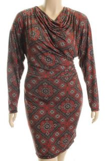 Studio M New Brown Long Sleeve Printed Drape Neck Ruched Casual Dress