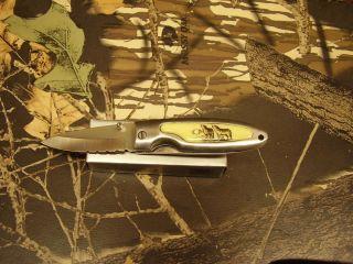 Super Knife Wolf Scene Stainless Steel Blade Folding Linerlock 3 1 2