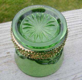 1890 RIVERSIDE EMERALD GREEN GLASS NIAGARA FALLS SOUVENIR CUP TUMBLER
