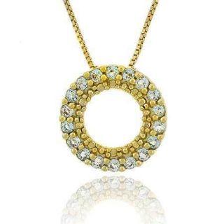 18K Gold Vermeil Blue Topaz Eternity Circle Pendant 18