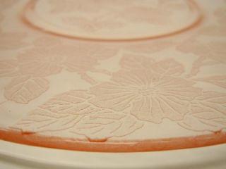 Macbeth Evans Depression Rose Pink Glass Floral Dogwood Salver Cake