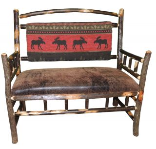 Rustic Hickory Deacons Bench Faux Brown Leather Seat with Moose Back
