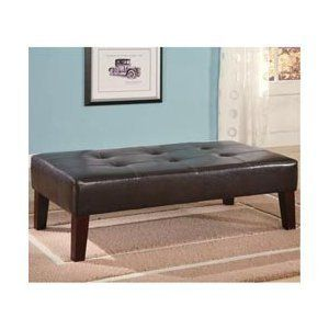 Coffee Table Ottoman Footstool Faux Leather Rectangular Bench