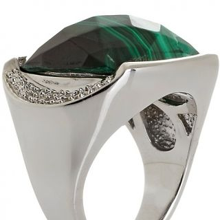 182 311 malachite cushion cut ring with diamond accents rating 2 $ 109