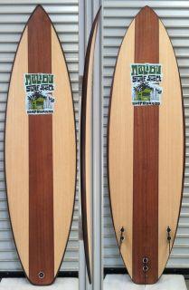 Wood Veneer Surfboard FCS Fin Plugs No Fins Surf Swamis