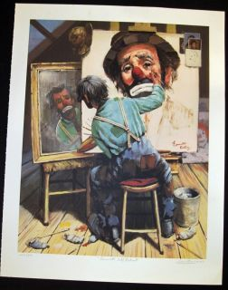 EMMETT KELLY PRINT SIGNED ARTIST PROOF FULL SIZED 26 x 33 by LEIGHTON