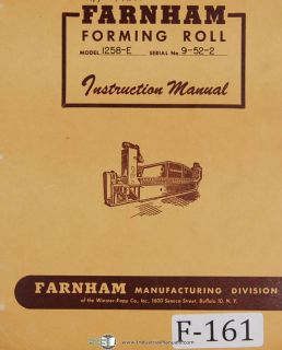 Farnham Operators 1258 E Forming Roll Machine Manual