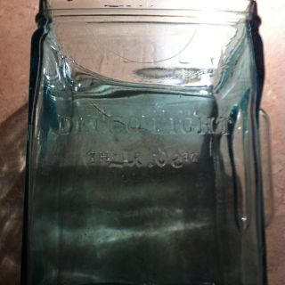 Vintage Delco Light Exide Glass Battery Case Aqua Blue Glass Jar KXG13