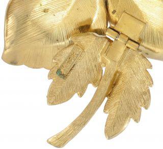 Vendome Enamel Flower Pin Brooch Clip Earrings Set
