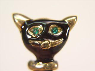 BLACK ENAMEL CAT PIN with GREEN SWAROVSKI CRYSTAL EYES