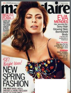 MARIE CLAIRE MARCH 2012 EVA MENDES HUGE FASHION ISSUE BAGS HEELS