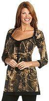 Eva Varro Lace Bodice Leaf Print Jersey Tunic Top M $128 New
