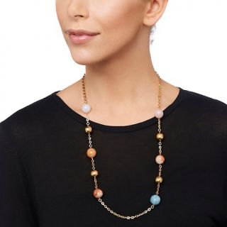 Bellezza Milena Multicolor Agate Yellow Bronze 28 Station Nec at