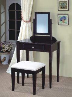 Espresso Finish Vanity Set w Mirror Table and Bench for Makeup