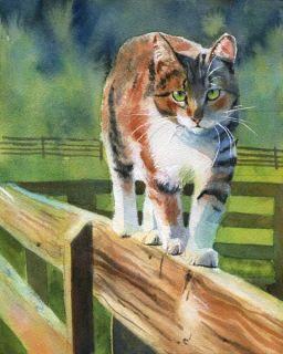 PRINT Tortoise Shell Tabby Cat art painting fence