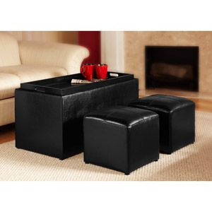 Faux Leather Storage Bench Coffee Table with 2 Side Ottomans Black or