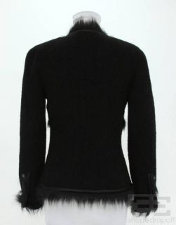 Chanel Boutique Black Wool Faux Fur Trim Cardigan Sweater Size 36 94a
