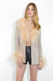 mod space age Blush pink Ostrich Feathers ultra cozy cardigan sweater