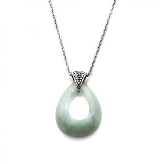 216 878 sterling silver pear shaped green jade pendant with chain and
