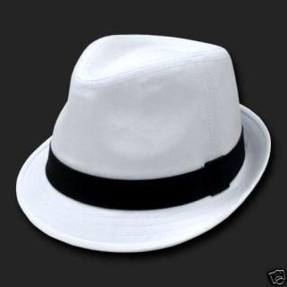 White Black Basic Woven Fedora Hat Hats Fedoras Sz s M