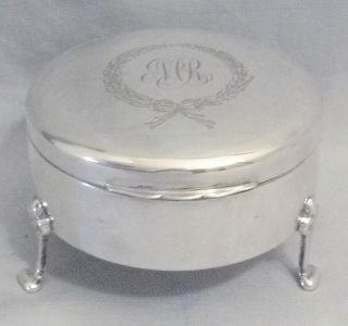 VTG BIRKS STERLING PATRICIA ENGRAVED JEWELRY BOX 1928 4 SLOT RING