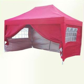 Peaktop 10x15 EZ Pop Up Party Tent Canopy Gazebo Red
