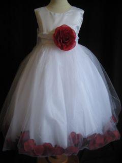 Apple Red Rose Petal Flower Girl Dress 2T 3T 4T 5 6 7
