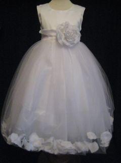 White Ivory Rose Petal Flower Girl Dress 6 9 12 18 MO 2T 3T 4T 5 6 7 8