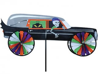Spinner Haunted Hearse Hot Rod Car Yard Lawn Windspinner Decor