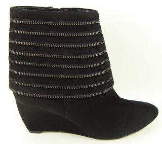 Enzo Angiolini Quteria Black Suede Womens Designer Shoes Wedge Ankle