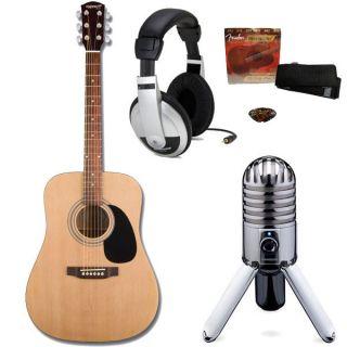 Fender Starcaster Acoustic Guitar Starter Recording Pack w Meteor Mic