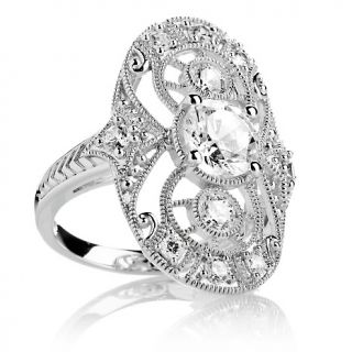 Absolute 2.12ct Sterling Silver Open Filigree Oval Shield Ring