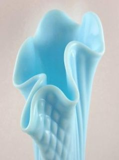Fenton Glass Blue Custard Diamond Point Columns Vase