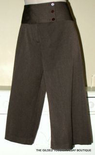 Fabrizio Gianni Stretch Cropped Pant Brown 12 Great with Boots