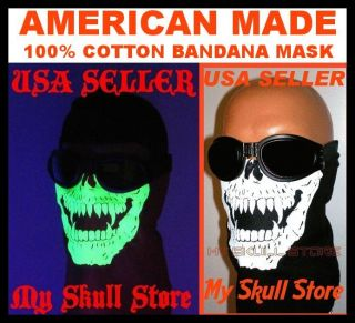 Skull Bandana Face Mask Chopper Biker Glow in The Dark