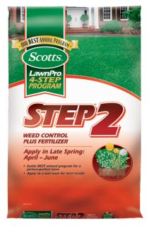 202934 Scotts Step 2 Weed Control Plus Fertilizer Covers 5000 Sq. Ft
