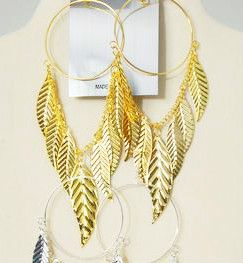 Beautiful Extra Large Leaf Hoop Chandelier Earrings Gold Tone