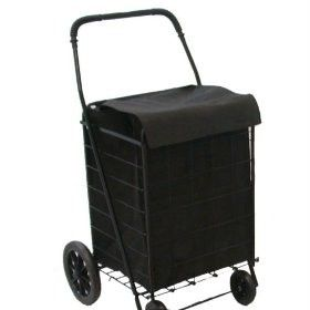 Extra Large Folding Cart with Matching Liner Black Strong Frame Folds