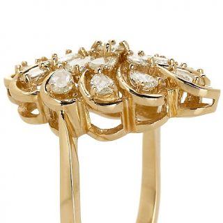 Jewelry Rings Gemstone Scrolled 10K Yellow Gold 0.91ct Diamond