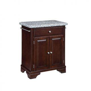 Home Styles Premium Cuisine Kitchen Cart   Cherry, Gray Granite Top at